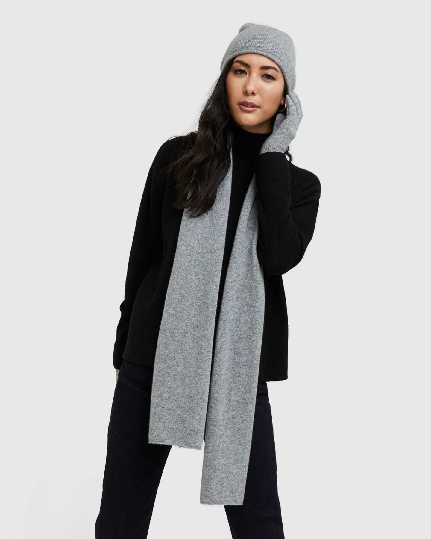 Mongolian Cashmere Scarf Capsule - Heather Grey