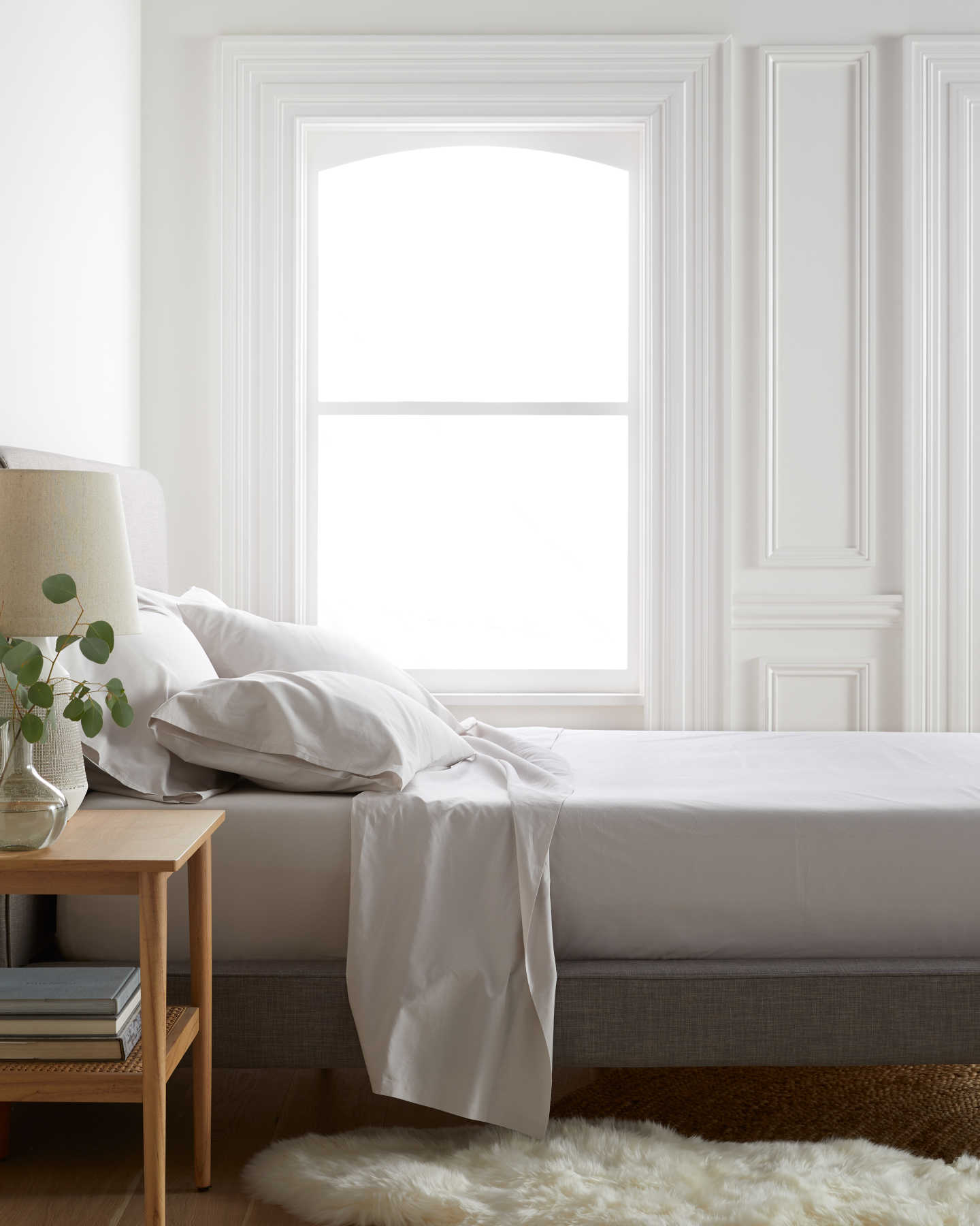 Organic percale sheet set in sand - named the best percale sheets by SleepFoundation.org - also featuring our organic percale pillowcases