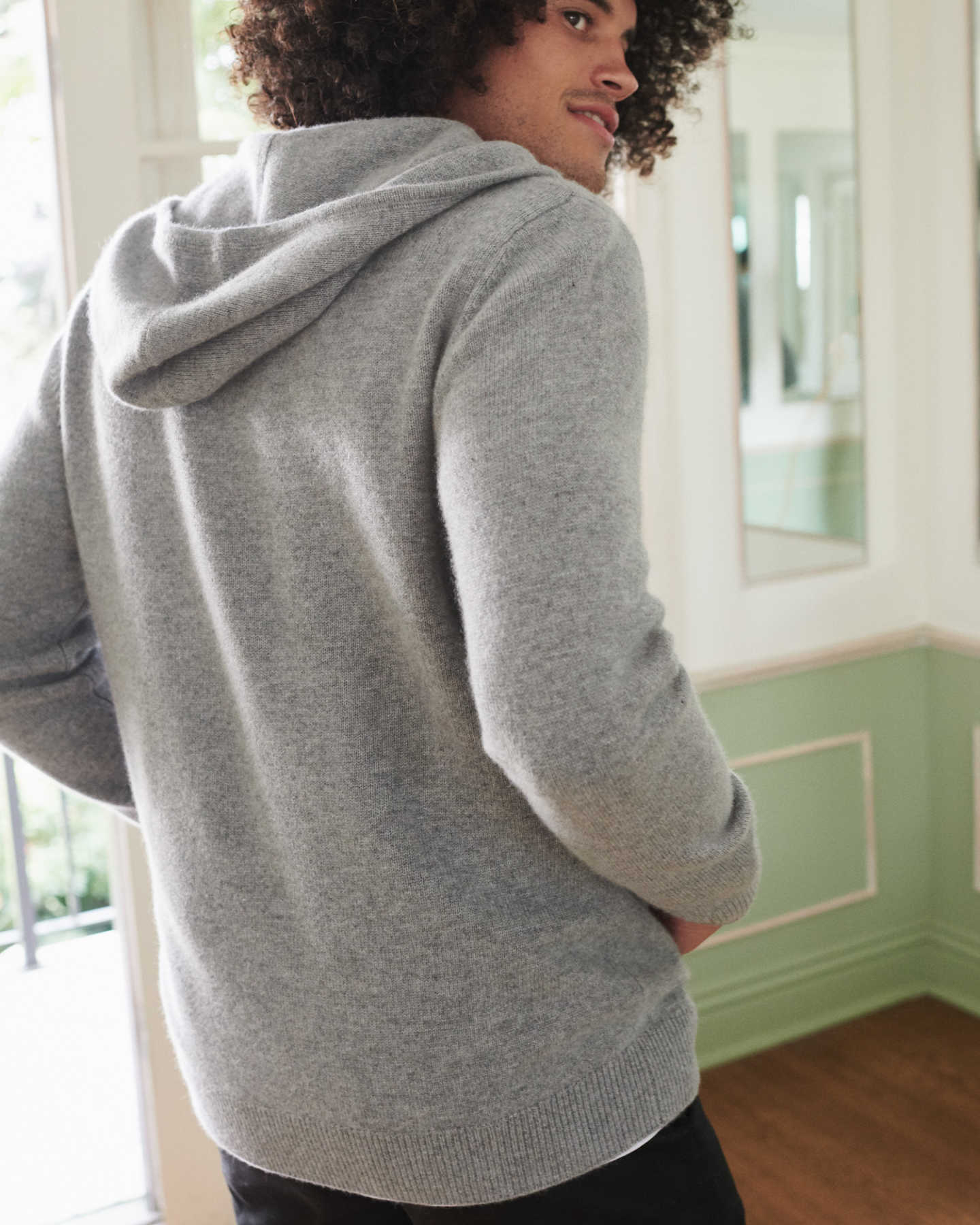 mens cashmere zip hoodie in grey from behind