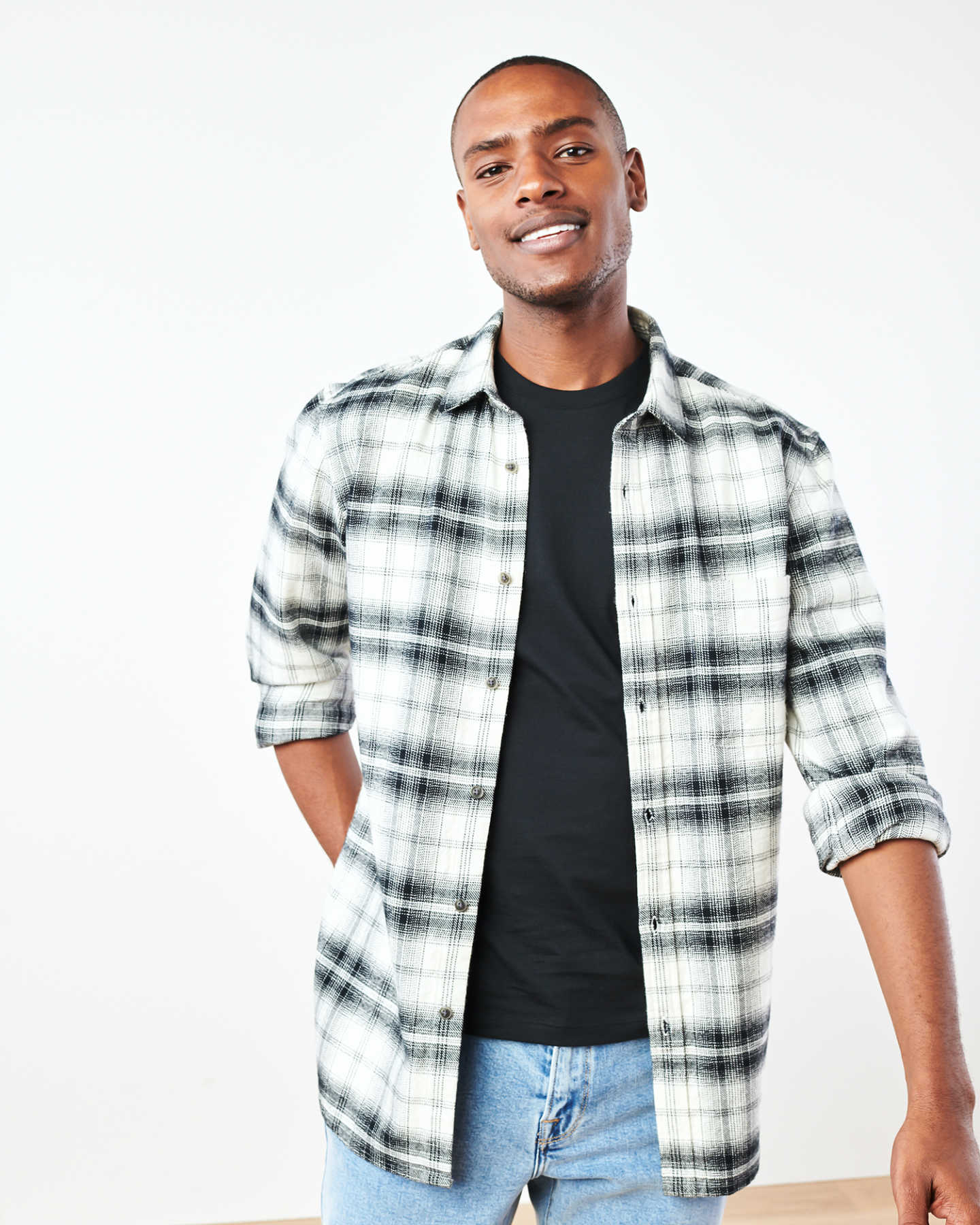 Heavy Plaid Flannel Overshirt - Black/White - 0