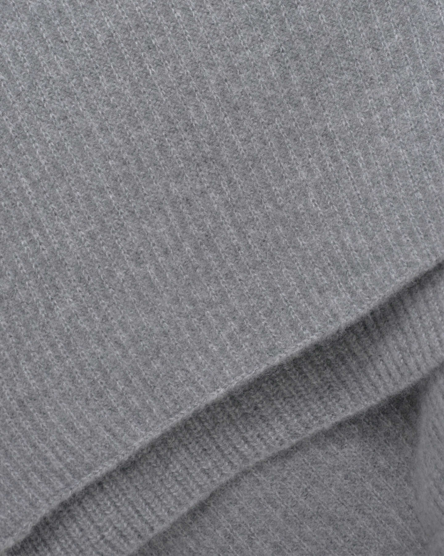 Ribbed Knit Cashmere Throw - Heather Grey - 1 - Thumbnail