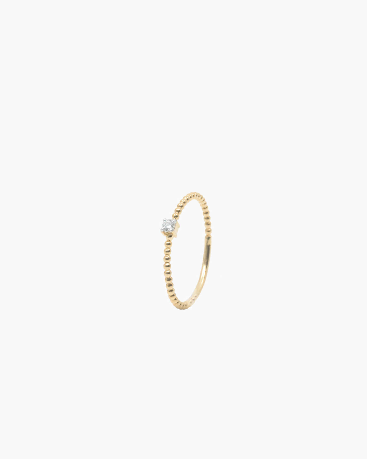 Diamond Beaded Ring - Yellow Gold - 0