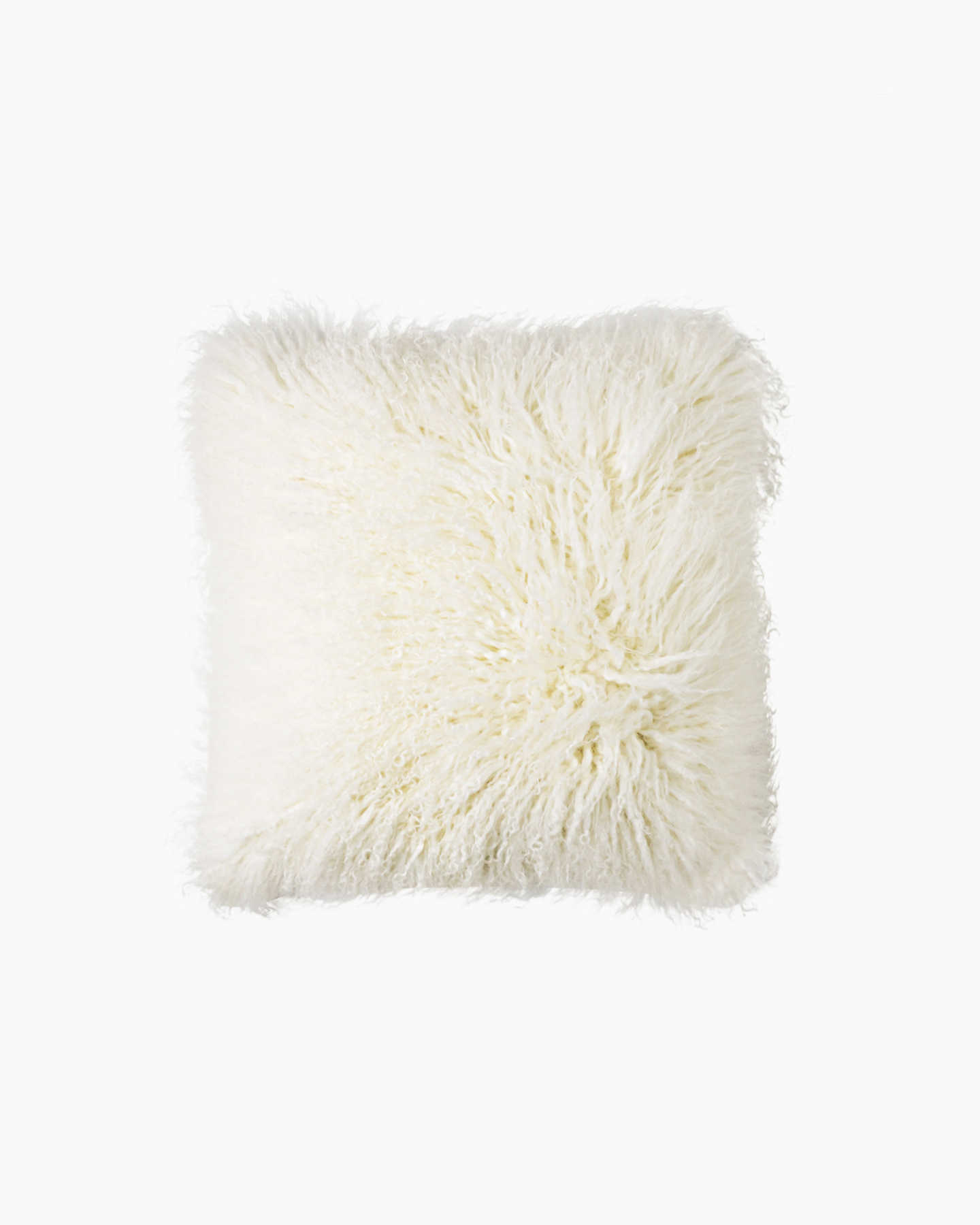 Luxe Mongolian Lamb Pillow Cover - Ivory - 0