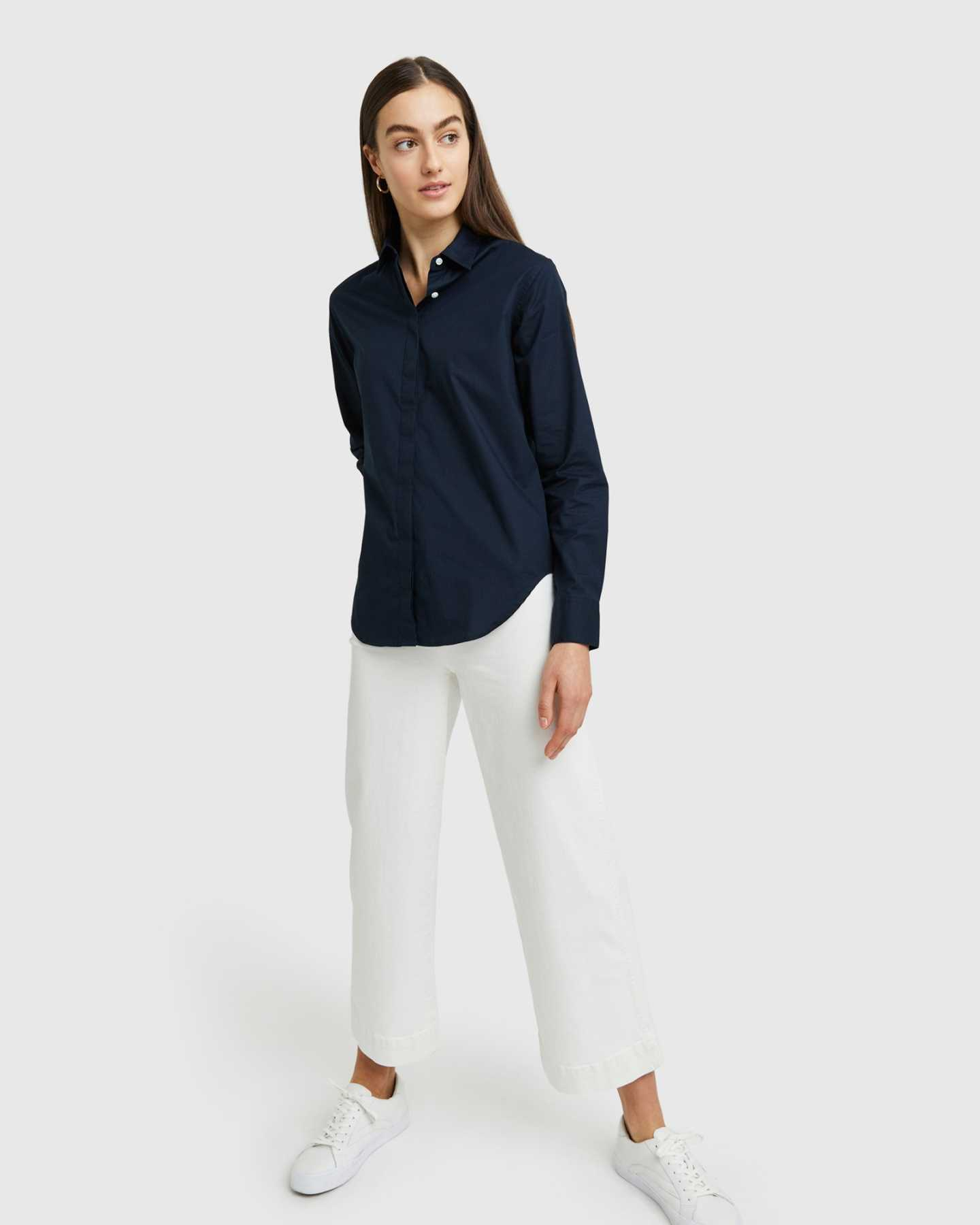 Organic Relaxed Poplin Shirt - Navy - 3