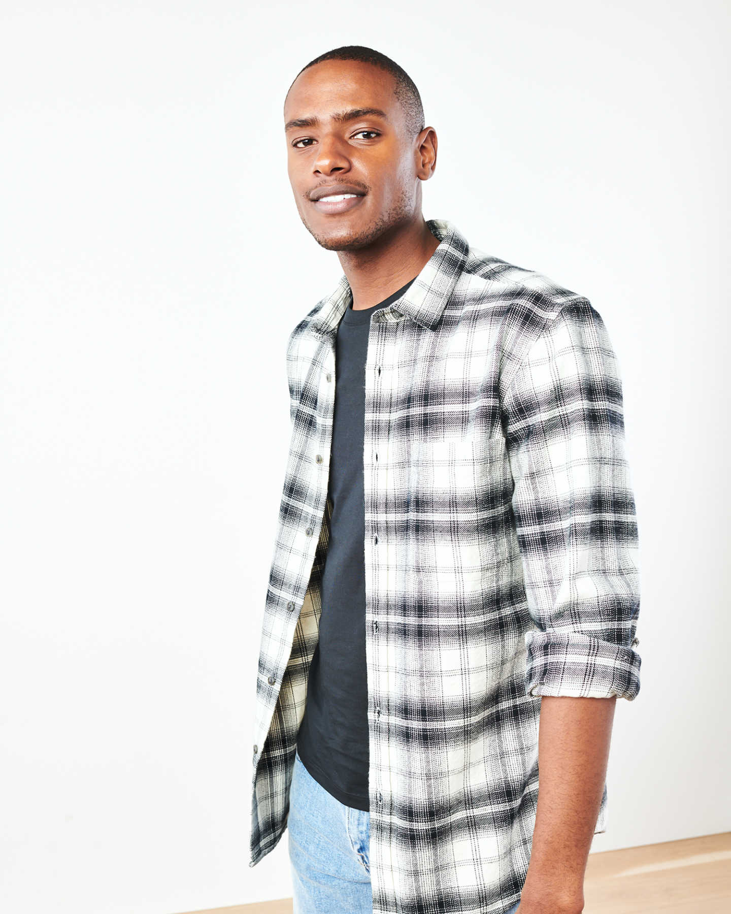 Heavy Plaid Flannel Overshirt - Black/White - 4