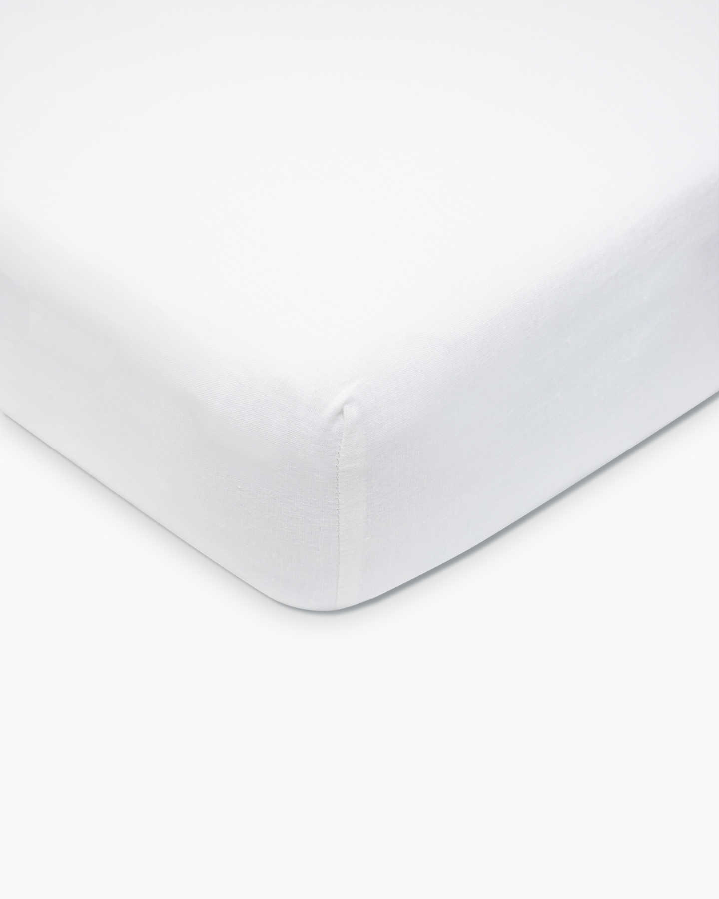 Belgian Linen Fitted Crib Sheet Set - White