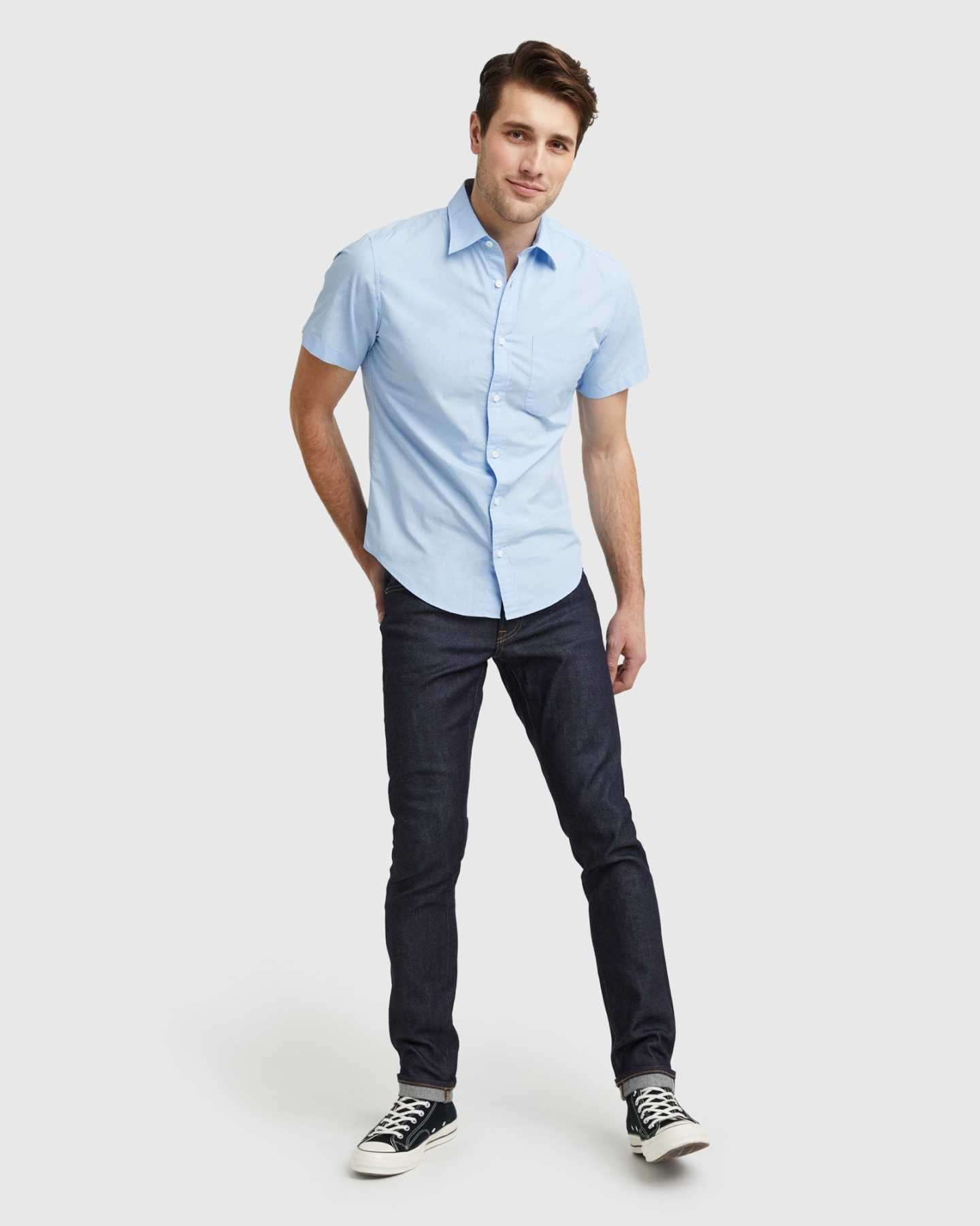 Organic Short Sleeve Stretch Poplin Shirt - Light Blue - 5