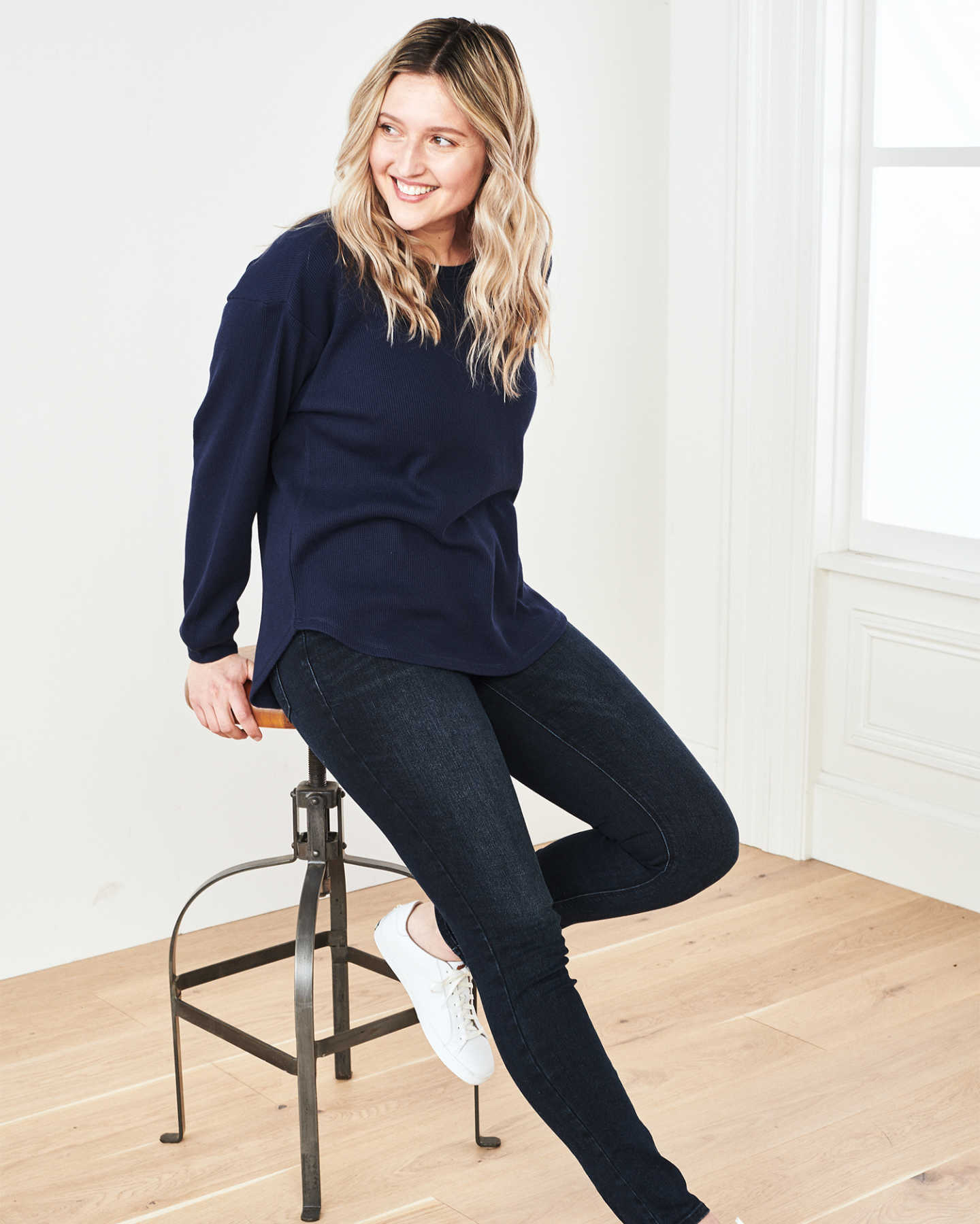 Luxe Organic Waffle Thermal Crew - Navy - 1