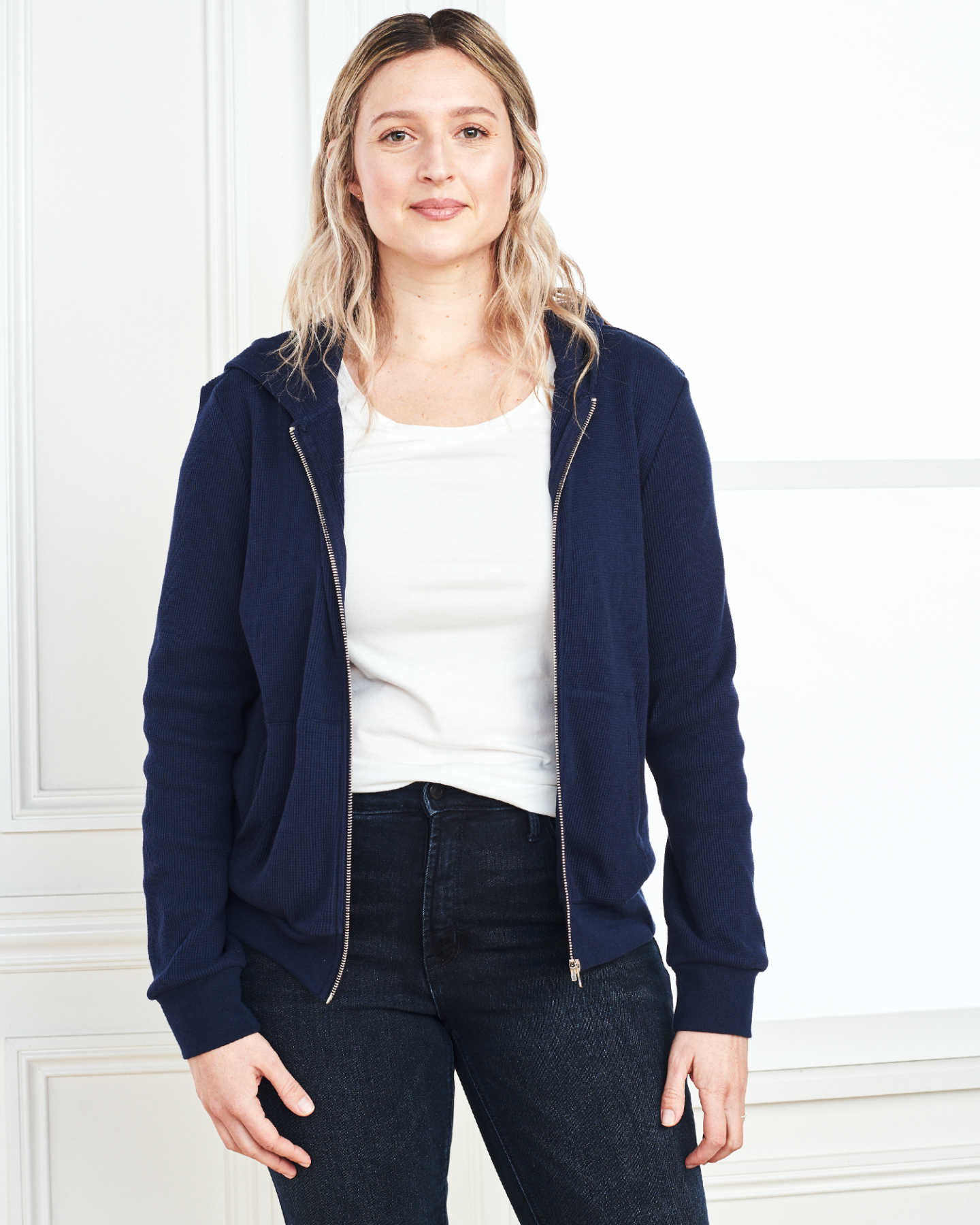 Pair With - Luxe Organic Waffle Thermal Hoodie - Navy