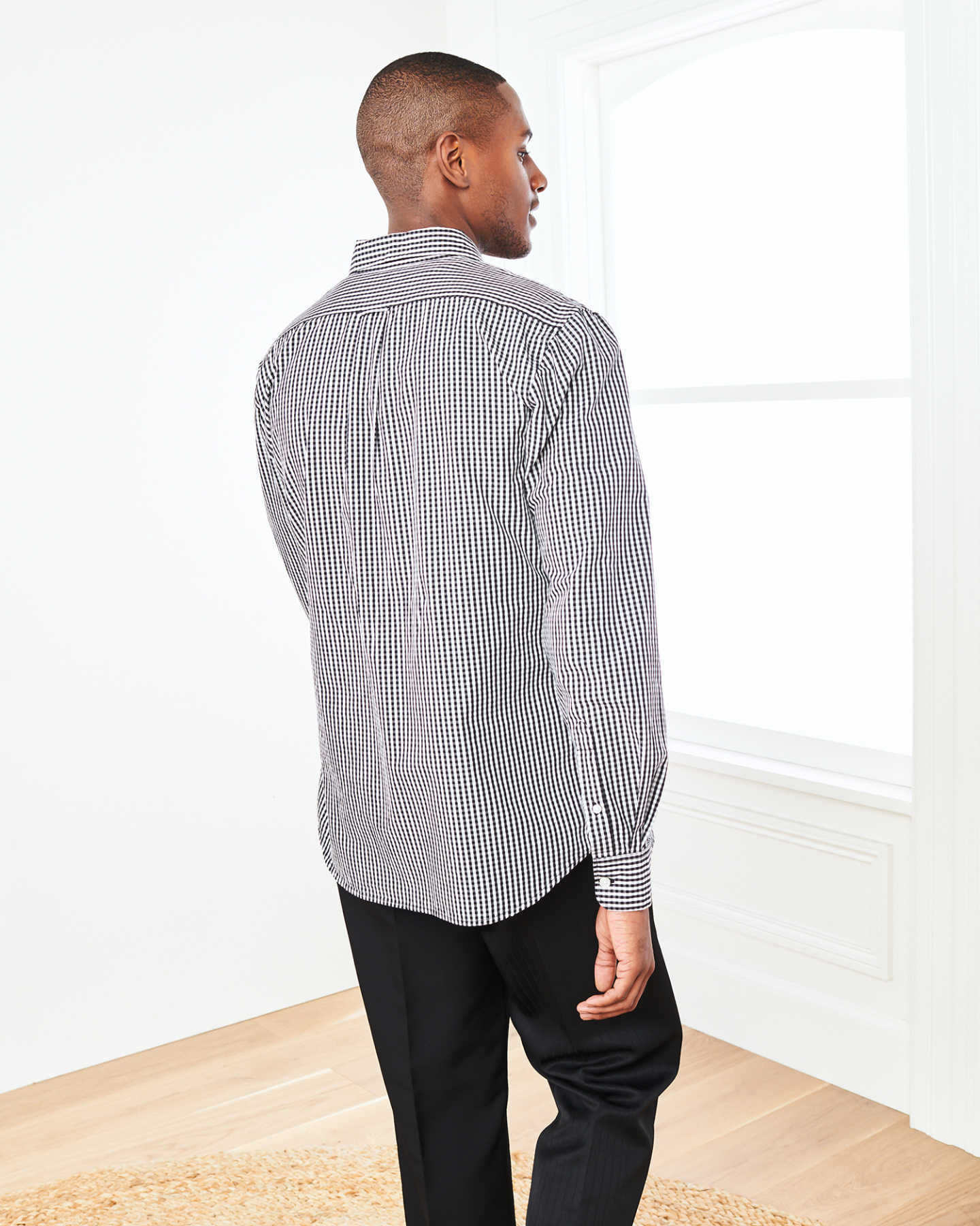 Carbon Wash Gingham Shirt - Black/White - 2