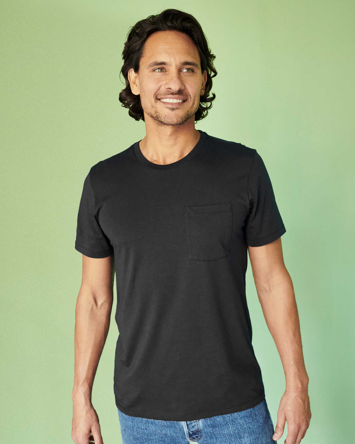 Luxe Organic Pima Pocket Tee - Black - 0