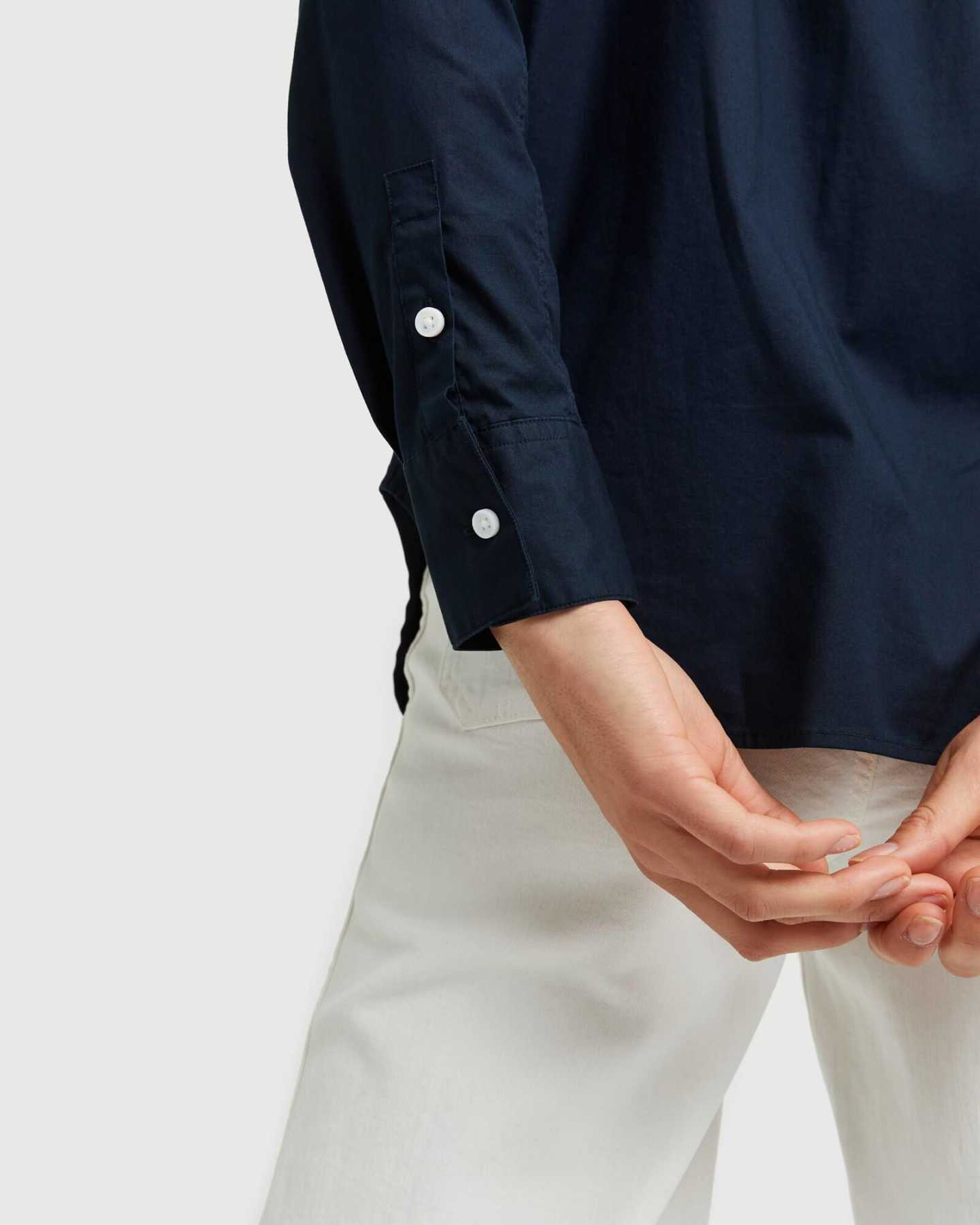 Organic Relaxed Poplin Shirt - Navy - 2