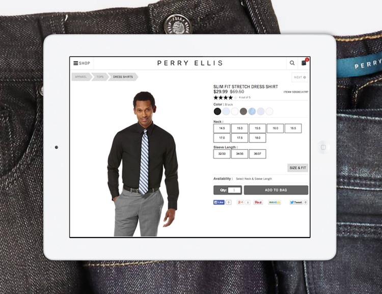 Perry Ellis website shown on tablet device with clothing in the background