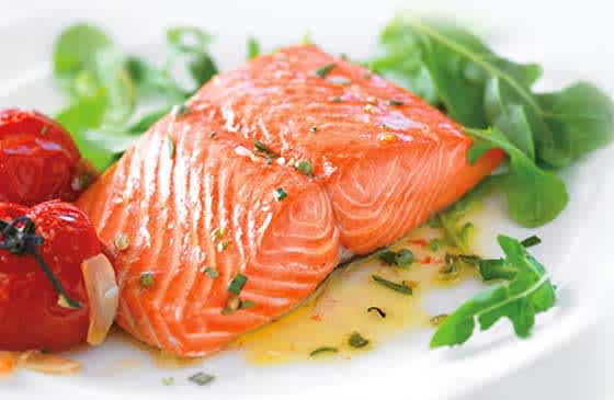 Plated salmon recipe made from Vital Choice fish