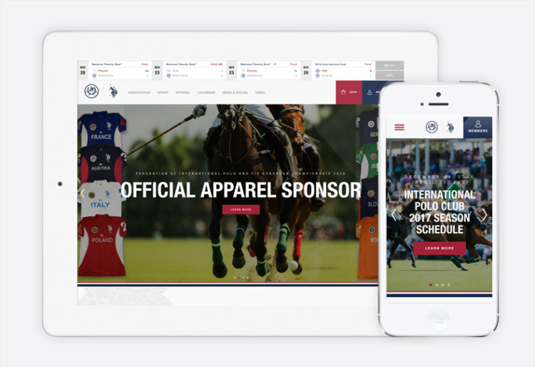 U.S. Polo Assoc. website shown on tablet and mobile device