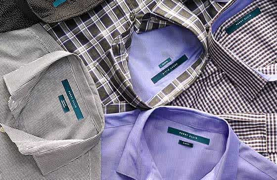 Perry Ellis shirts arranged on a table