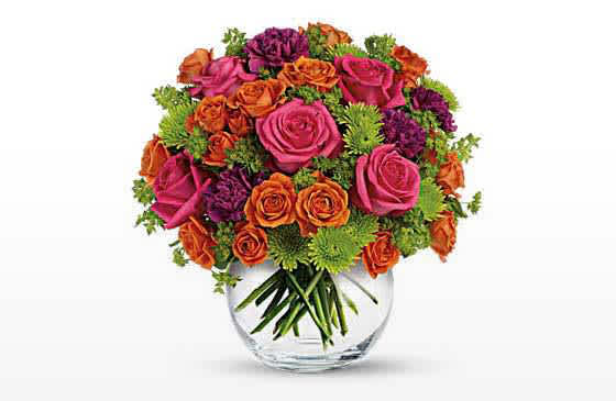 Teleflora bouquet in glass vase