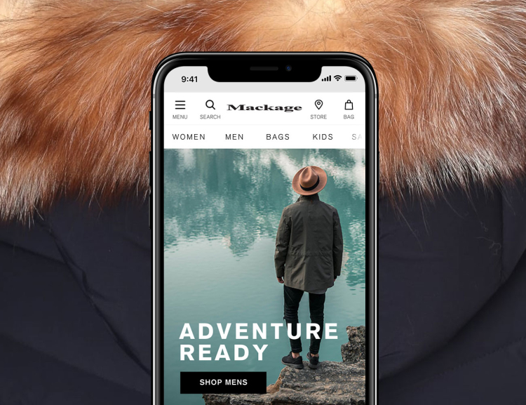 App Group Mackage website shown on mobile device with fur coat background
