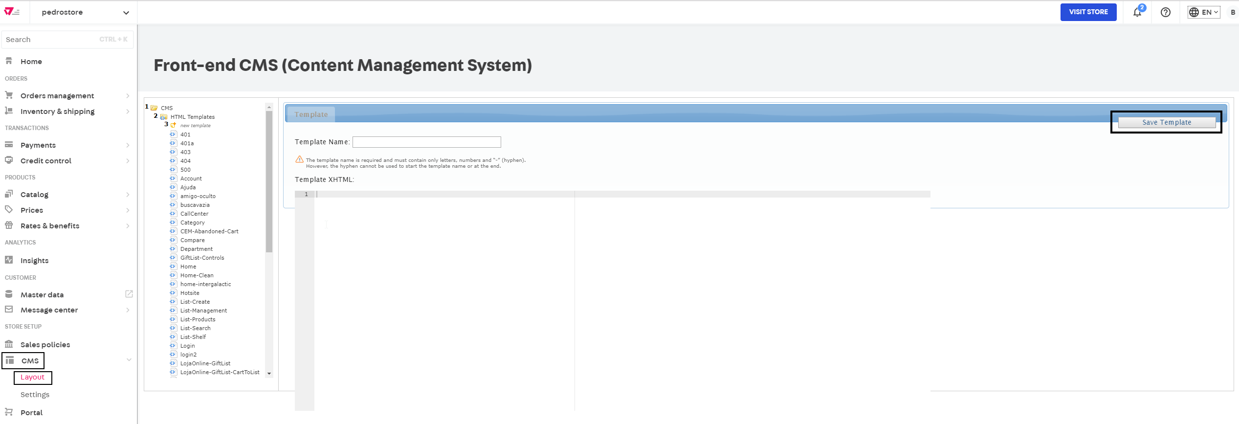 Create the layout template sitefinity cms design and frontend.