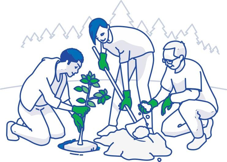 People planting plants