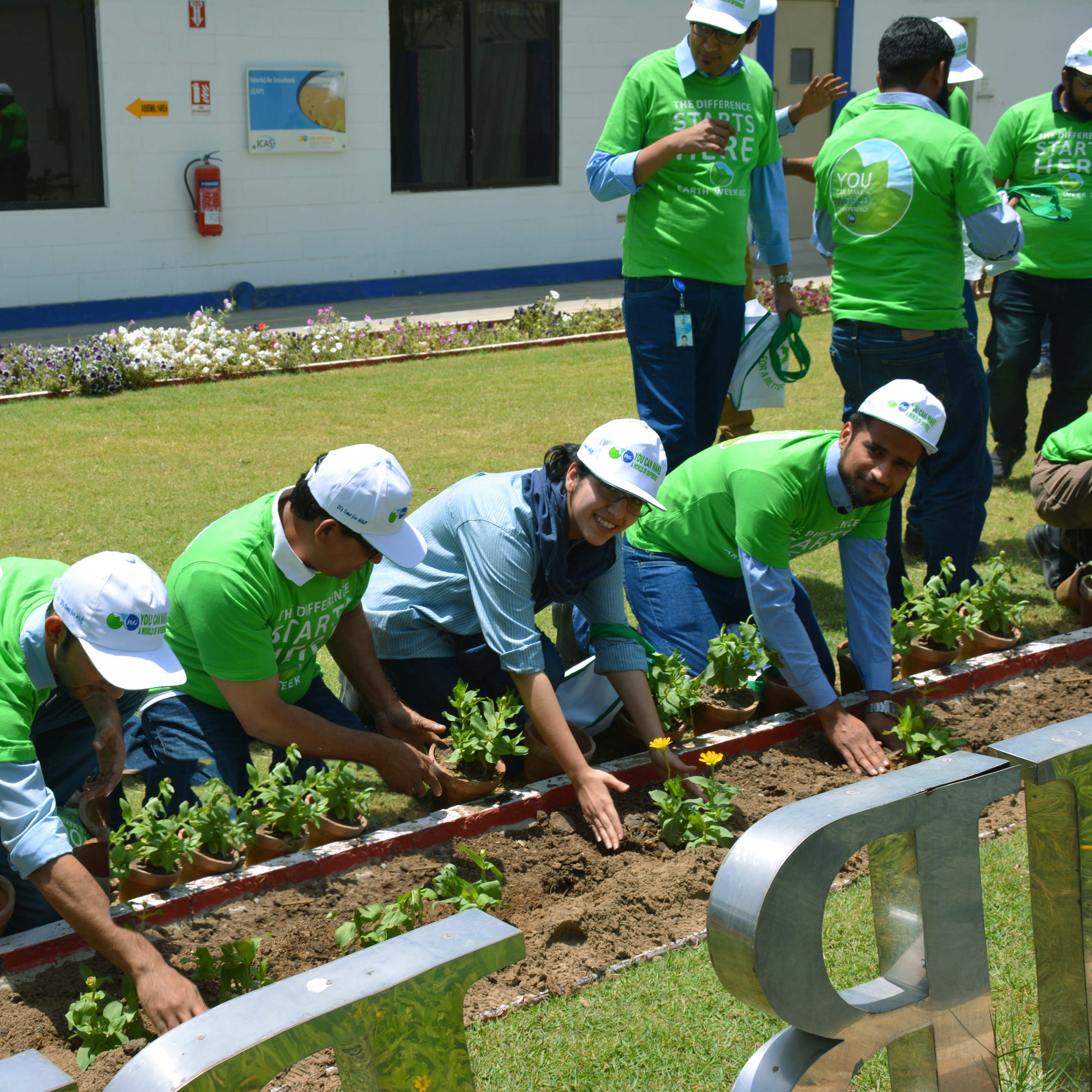 Workers planting