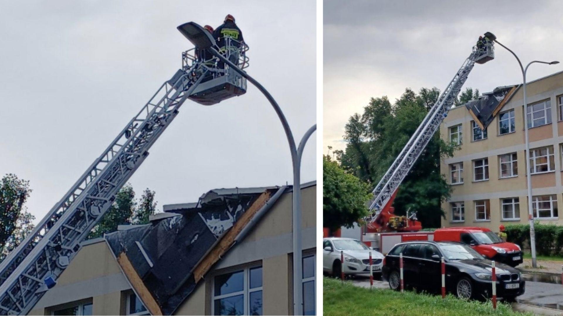 Naderwany został dach budynku technikum na Saskiej Kępie