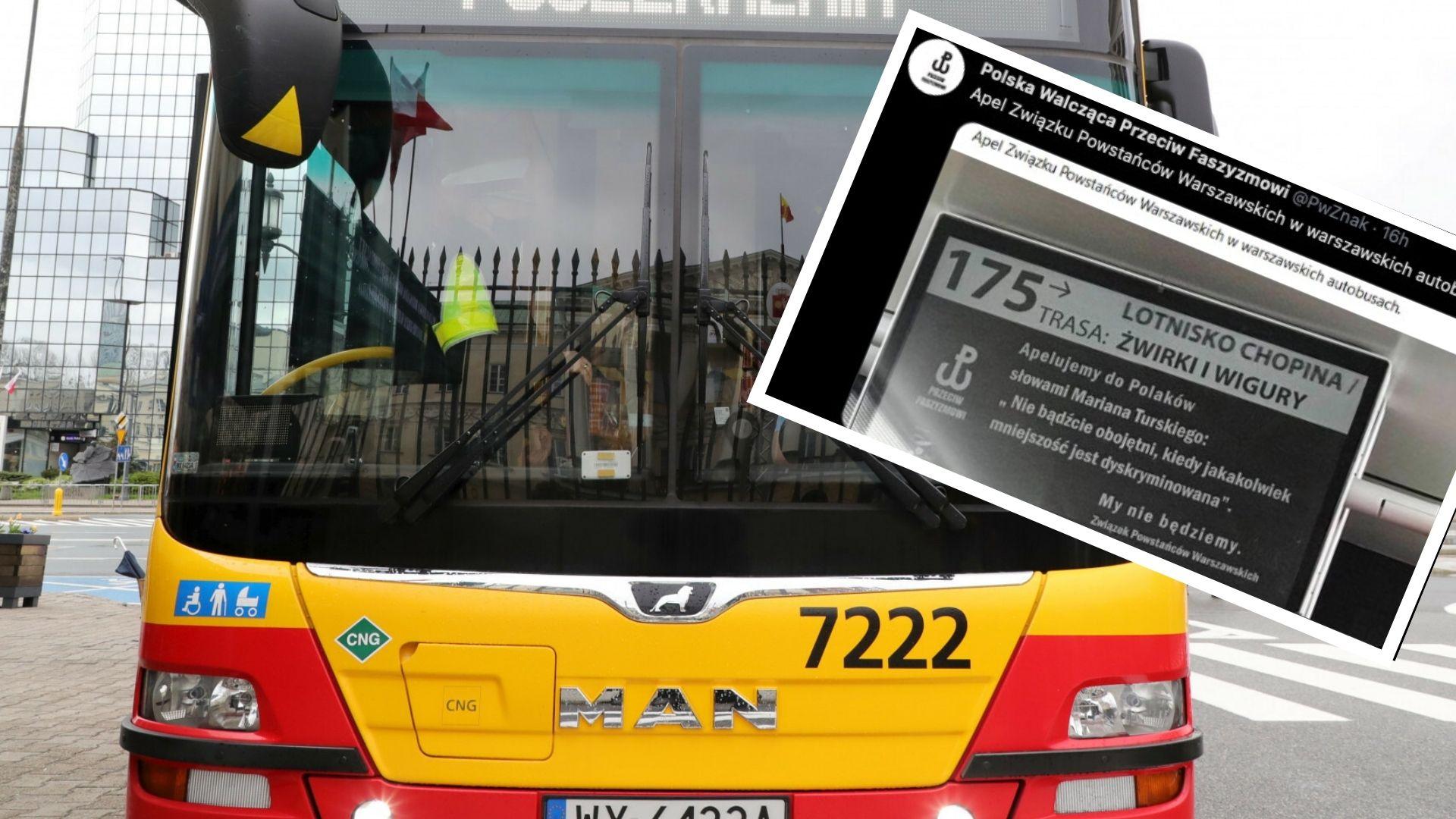 W warszawskich autobusach pojawił się komunikat w związku z nadchodzącą rocznicą Powstania Warszawskiego
