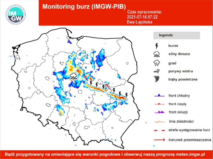 Mapa burzowa Polski, front dotarł do Warszawy