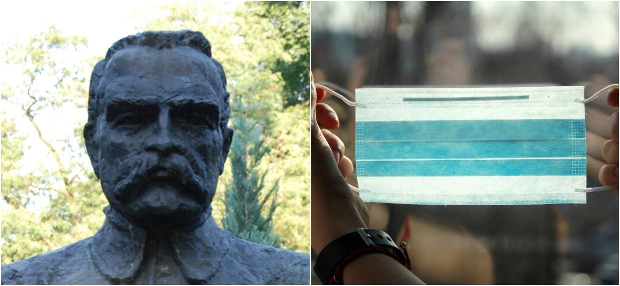 Polacy założyli maseczkę na pomnik Józefa Piłsudskiego