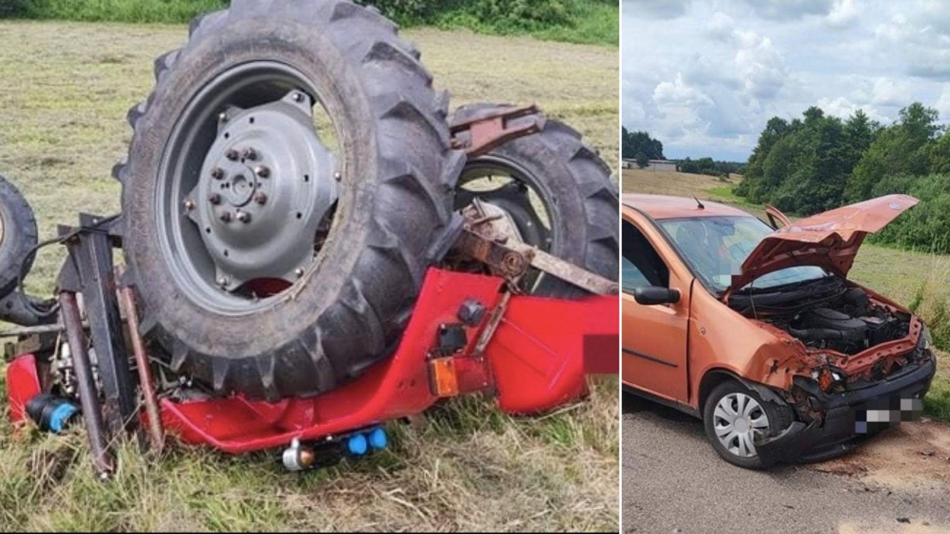 Groźny wypadek z udziałem ciągnika i Fiata Punto w miejscowości Luszewo w gminie Glinojeck
