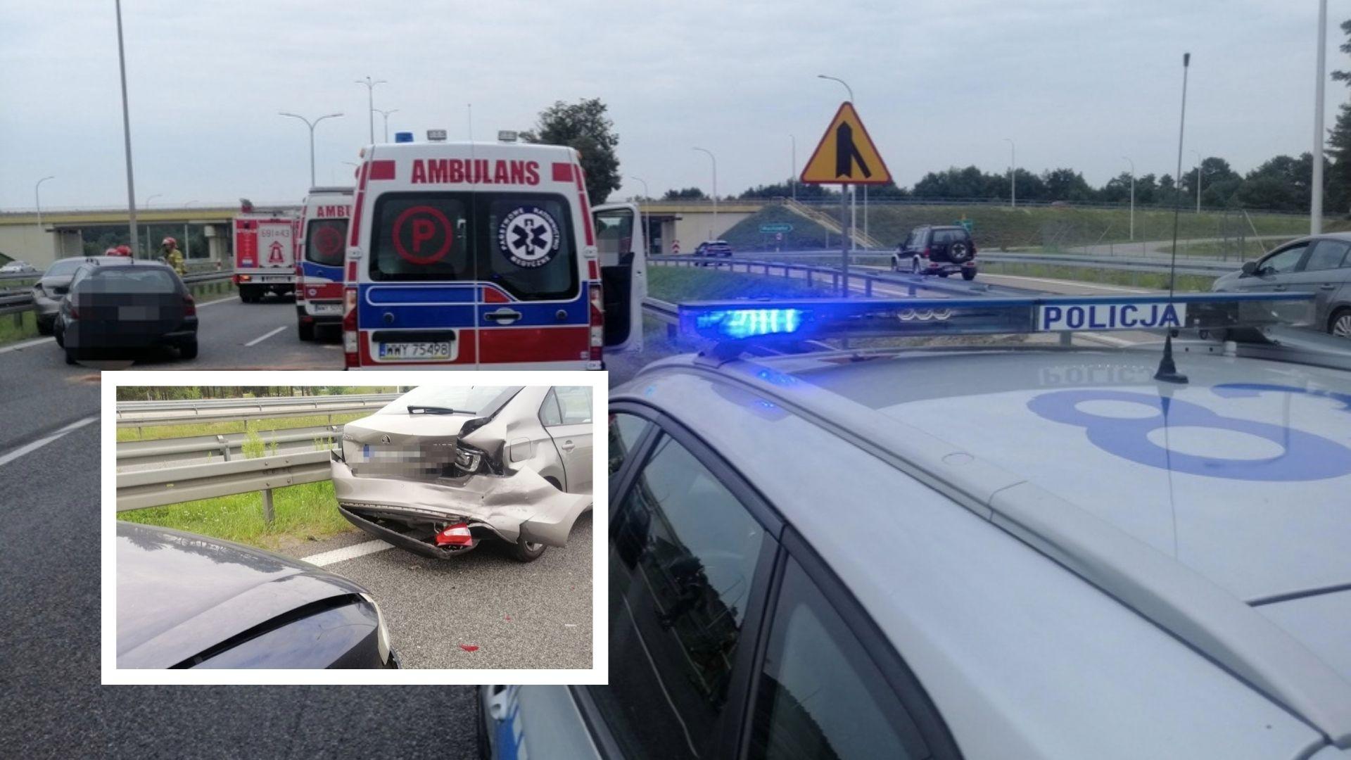 Zderzenie dwóch aut na S8 w okolicach Wyszkowa