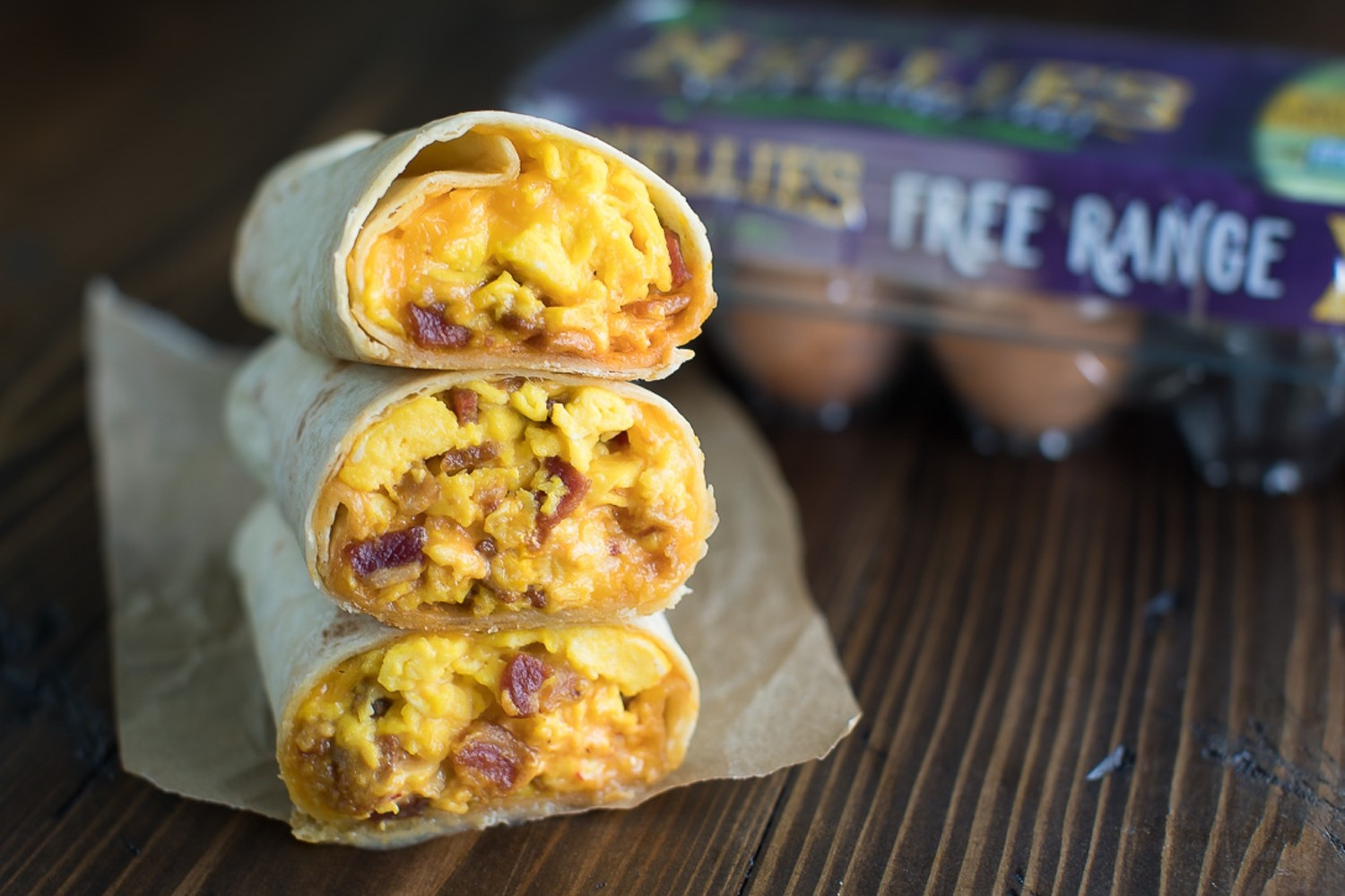Classic bacon, egg, and cheese breakfast burritos with easy homemade chipotle aioli and scrambled free range eggs. | nelliesfreerange.com