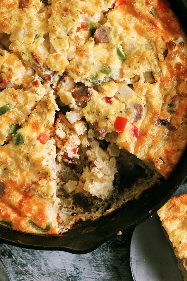 Easy and flavorful holiday frittata recipe made with leftover stuffing and free range eggs. | nelliesfreerange.com
