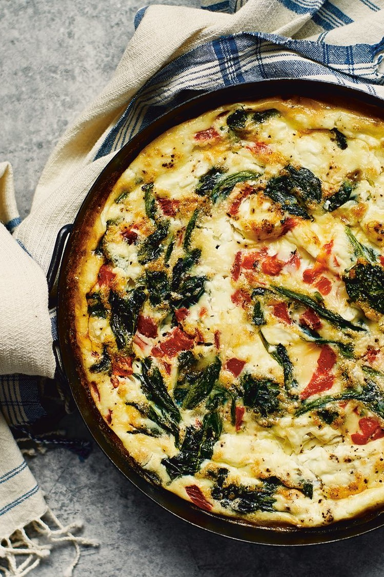 Vegetarian-friendly spinach, red pepper, and goat cheese frittata recipe from pastry chef Waylynn Lucas. | nelliesfreerange.com