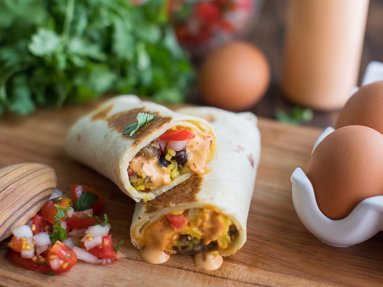 Southwest Sausage Breakfast Burritos