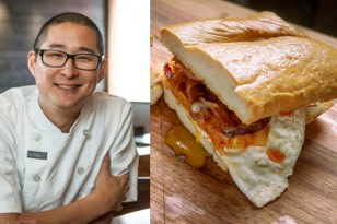 Texas-sized breakfast sandwich from chef Tim Dornon boasting bacon, kimchi, homemade mayo, and a free range egg. | nelliesfreerange.com