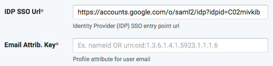 SSO-IDP url Email key