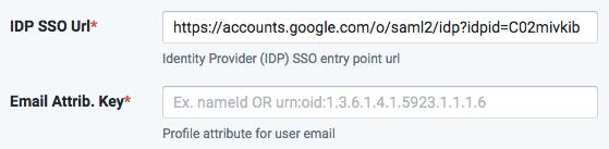 SSO-IDP url Email key