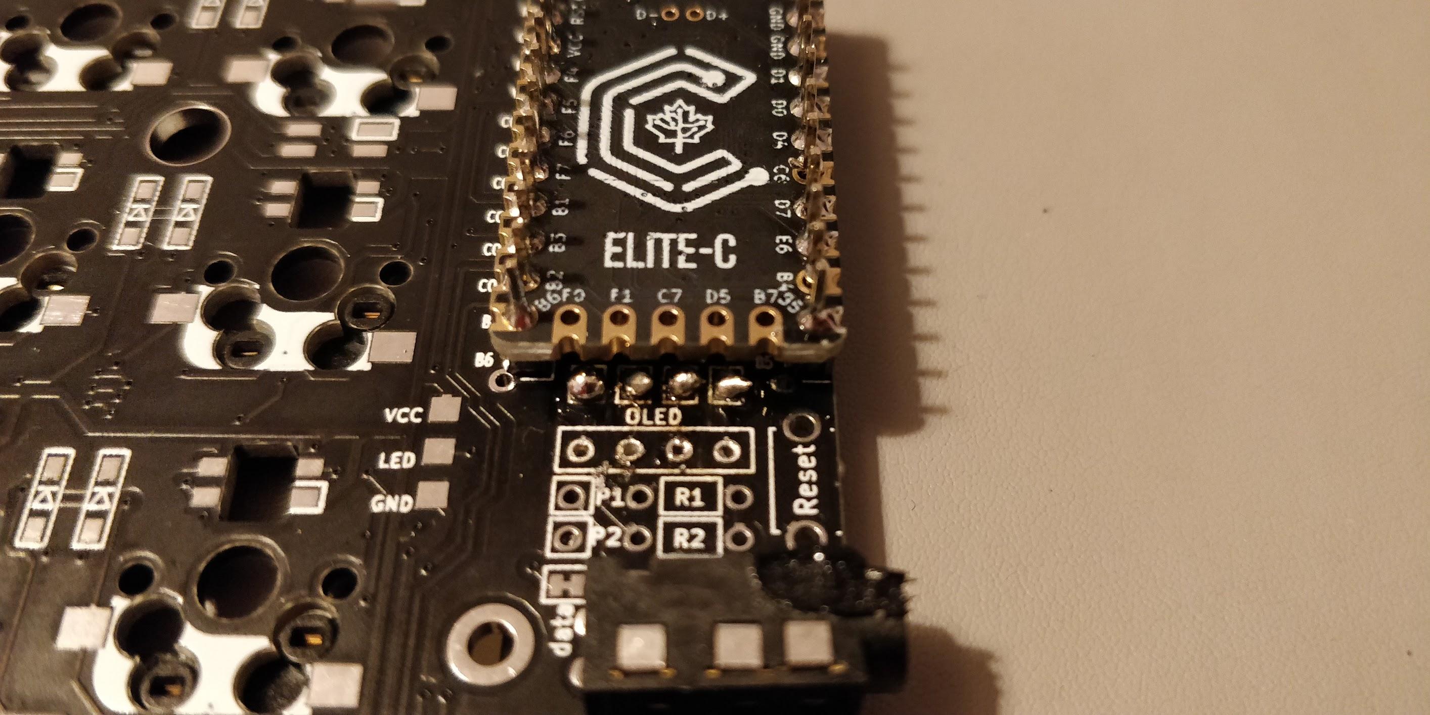 Corne crkbd - failure - OLED soldering attempt 1