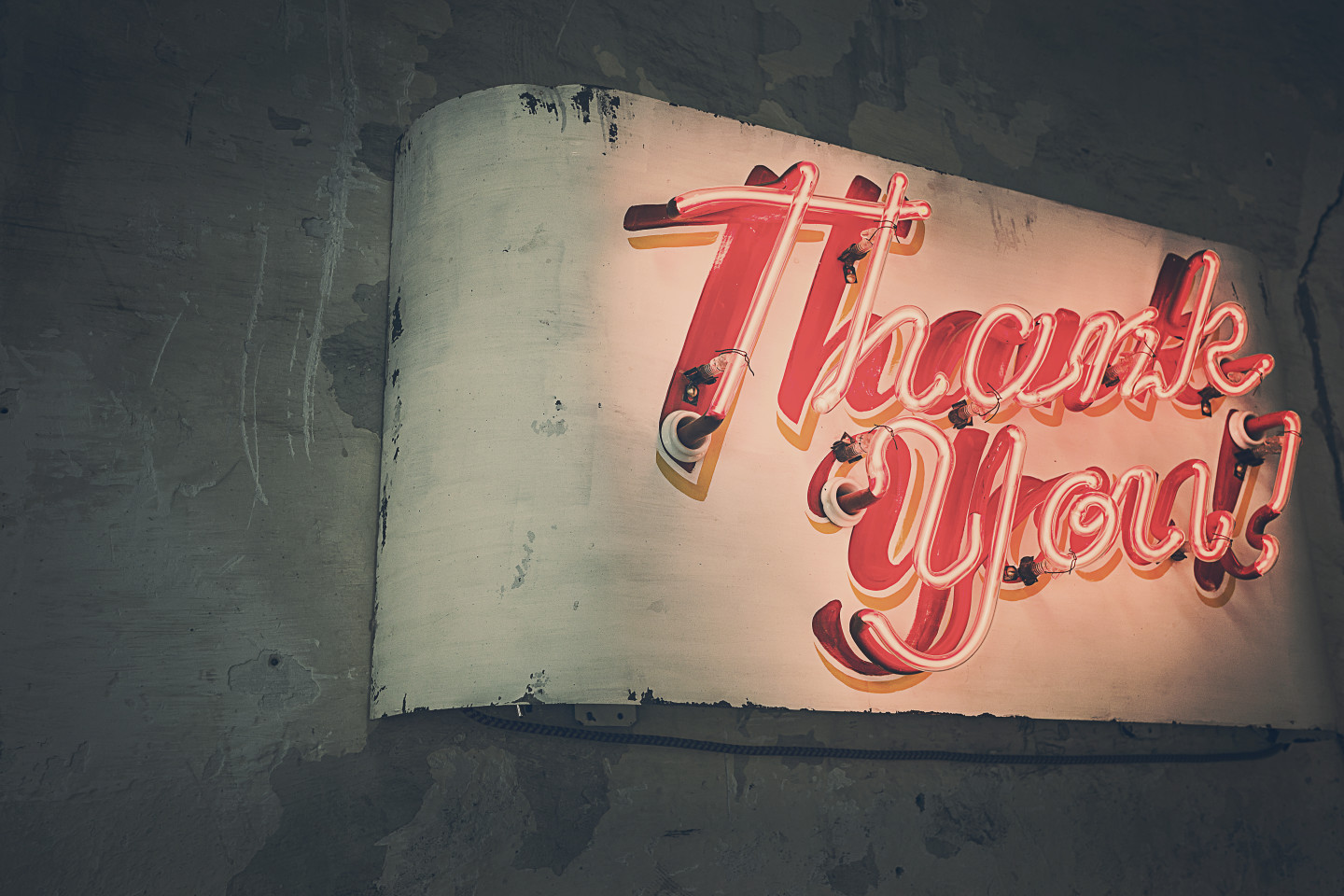 neon red thank you sign