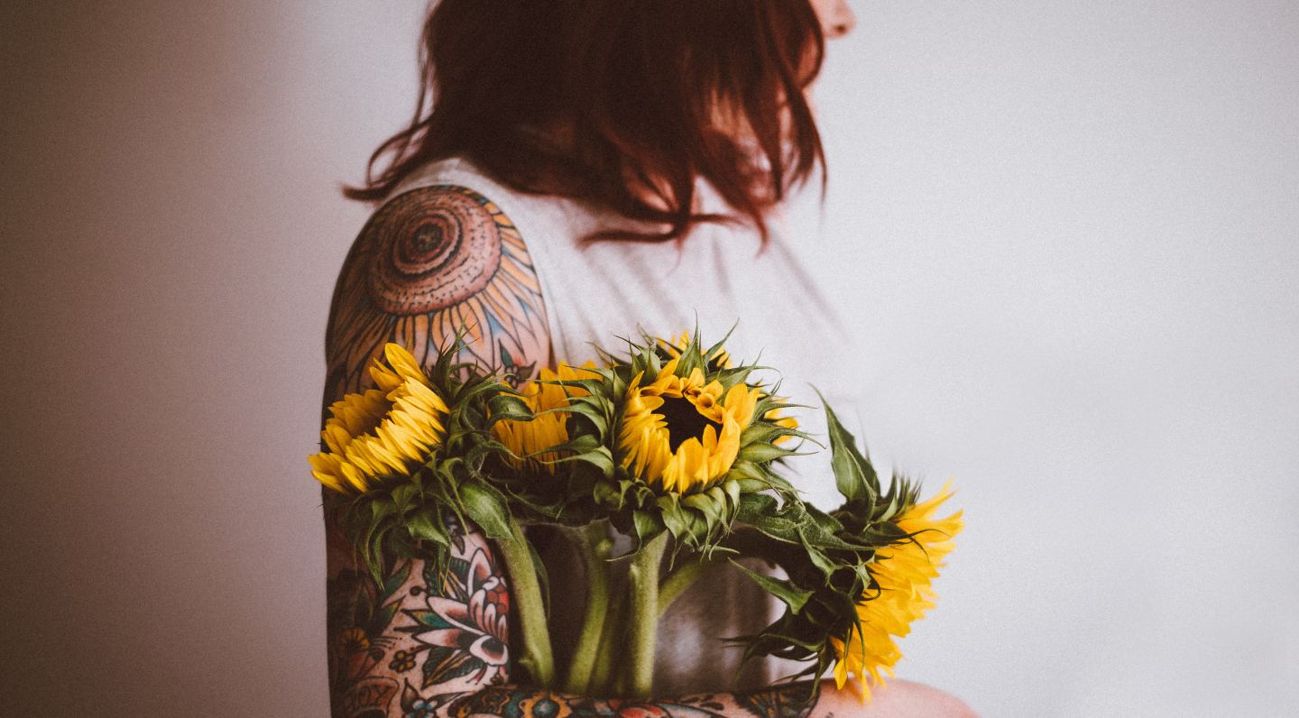 redhead tattoos sunflowers