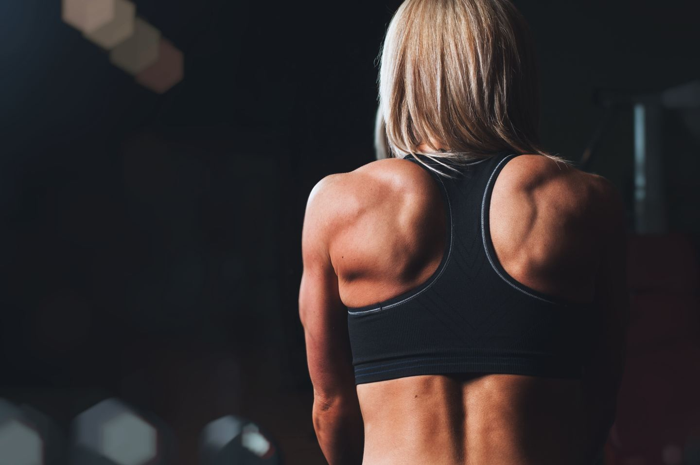 woman back sports bra