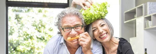 Older couple with vegetables
