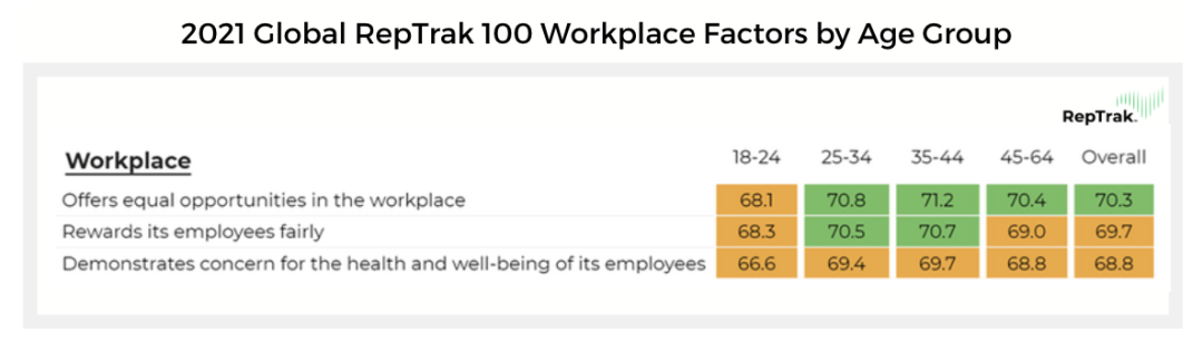 2021 Global RepTrak 100 - Workplace Factors by Age Group