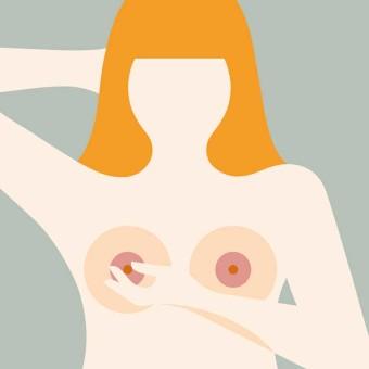 Illustration av kvinna som kontrollerar bröstet