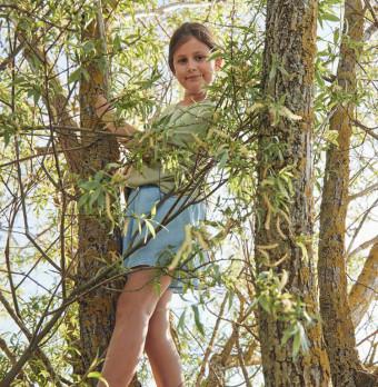 Ett barn klättrar i ett träd. Foto.