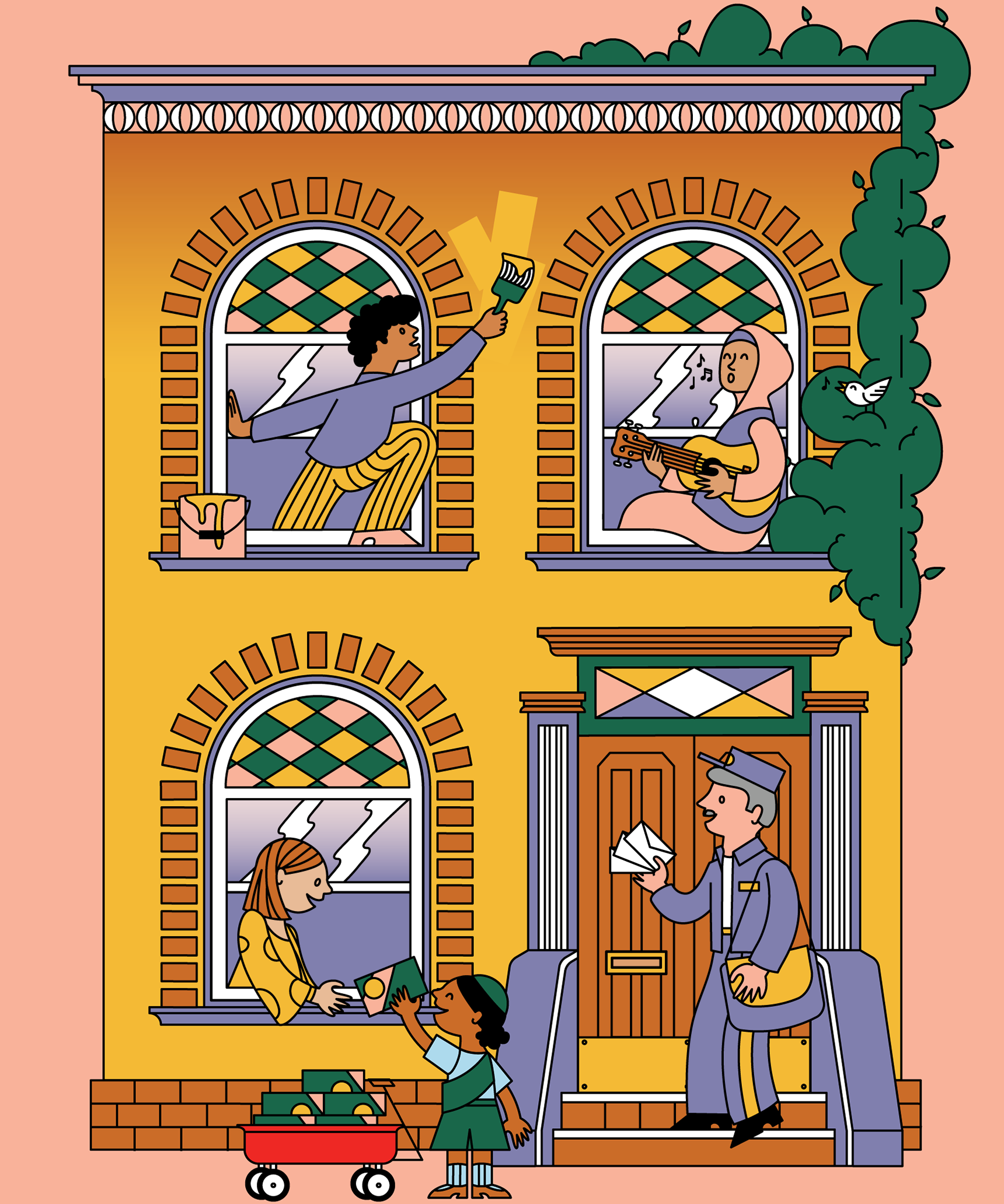 Illustration by Berenice Méndez includes a building with three windows, each with a person in the window.