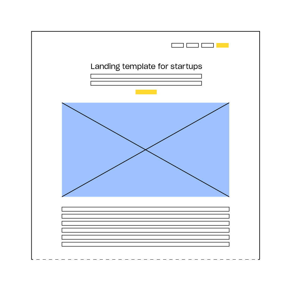A basic product landing-page structure is easy to produce, and covers the most important things to learn up front.