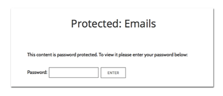 Example of a password-protected page on a WordPress site