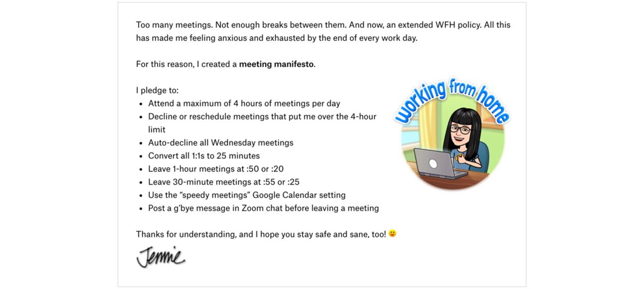A screenshot of Jennie's meeting manifesto. It describes the rules that she has around meetings such as a maximum of 4 hours of meetings per day and posting a goodbye message if you leave a meeting early.